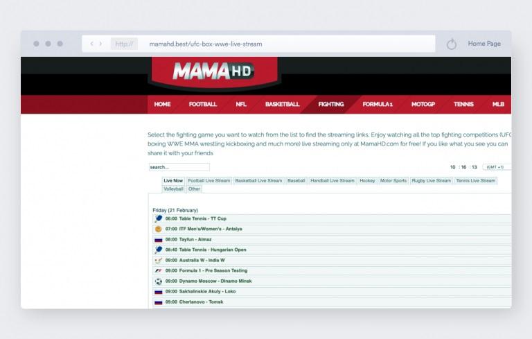 MMA Streams